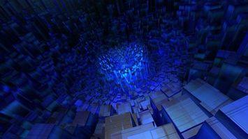 Фото бесплатно коробки, квадраты, прямоугольники, формы, свет, синий, абстракции