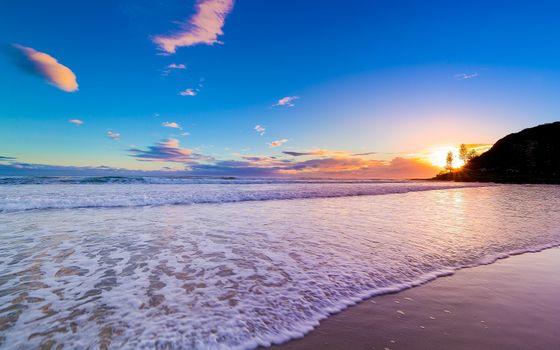 Фото бесплатно вид с берега, вечер, пляж