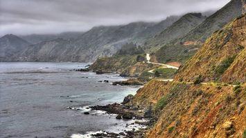 Бесплатные фото море,побережье,камни,горы,дорога,облака