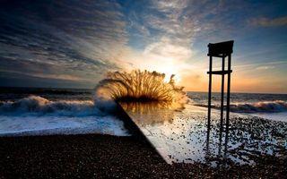 Бесплатные фото море, океан, волны, брызги, небо, облака, закат
