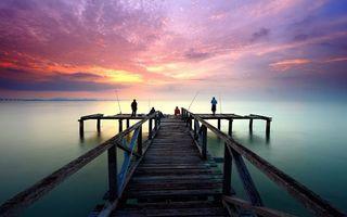 Фото бесплатно море, закат, рыбаки