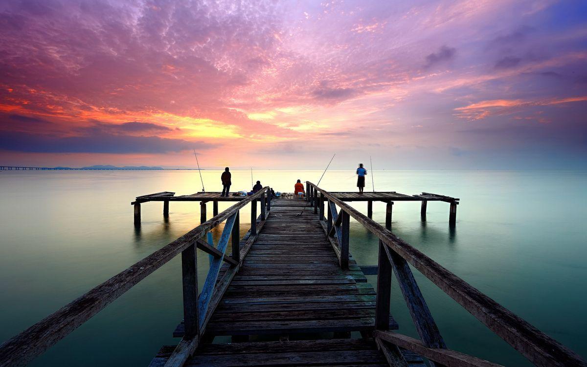 Free photo sea, sunset, fishermen - to desktop