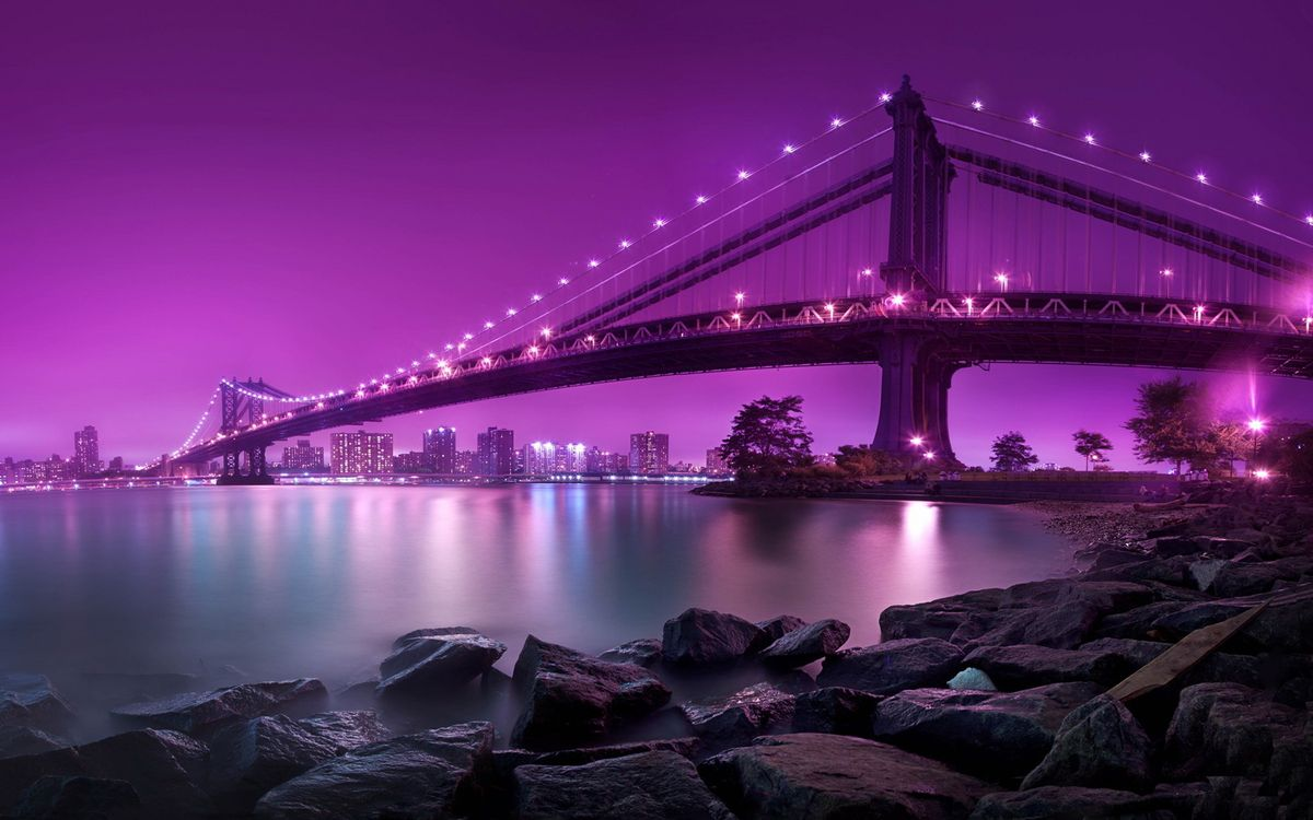Картинка мост, дома, улицы, камни, океан, вода, берег, небо, свет, огни, город на рабочий стол. Скачать фото обои город