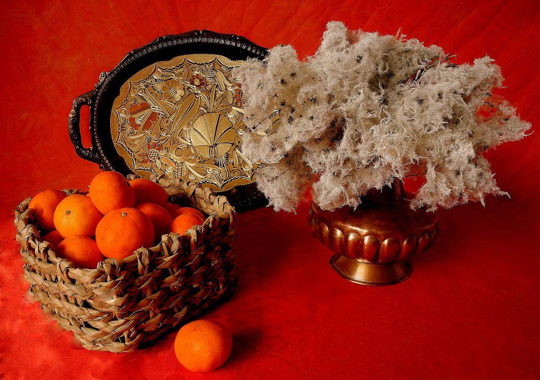 Фото бесплатно натюрморт, мандарины, ваза - на рабочий стол
