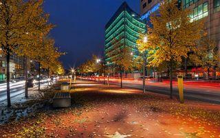 Бесплатные фото осенняя ночь,улица,фонари,скамейки,городской осенний пейзаж