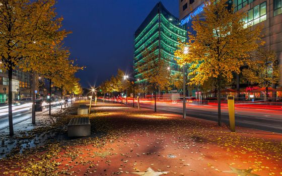 Photo free autumn night, street, lanterns