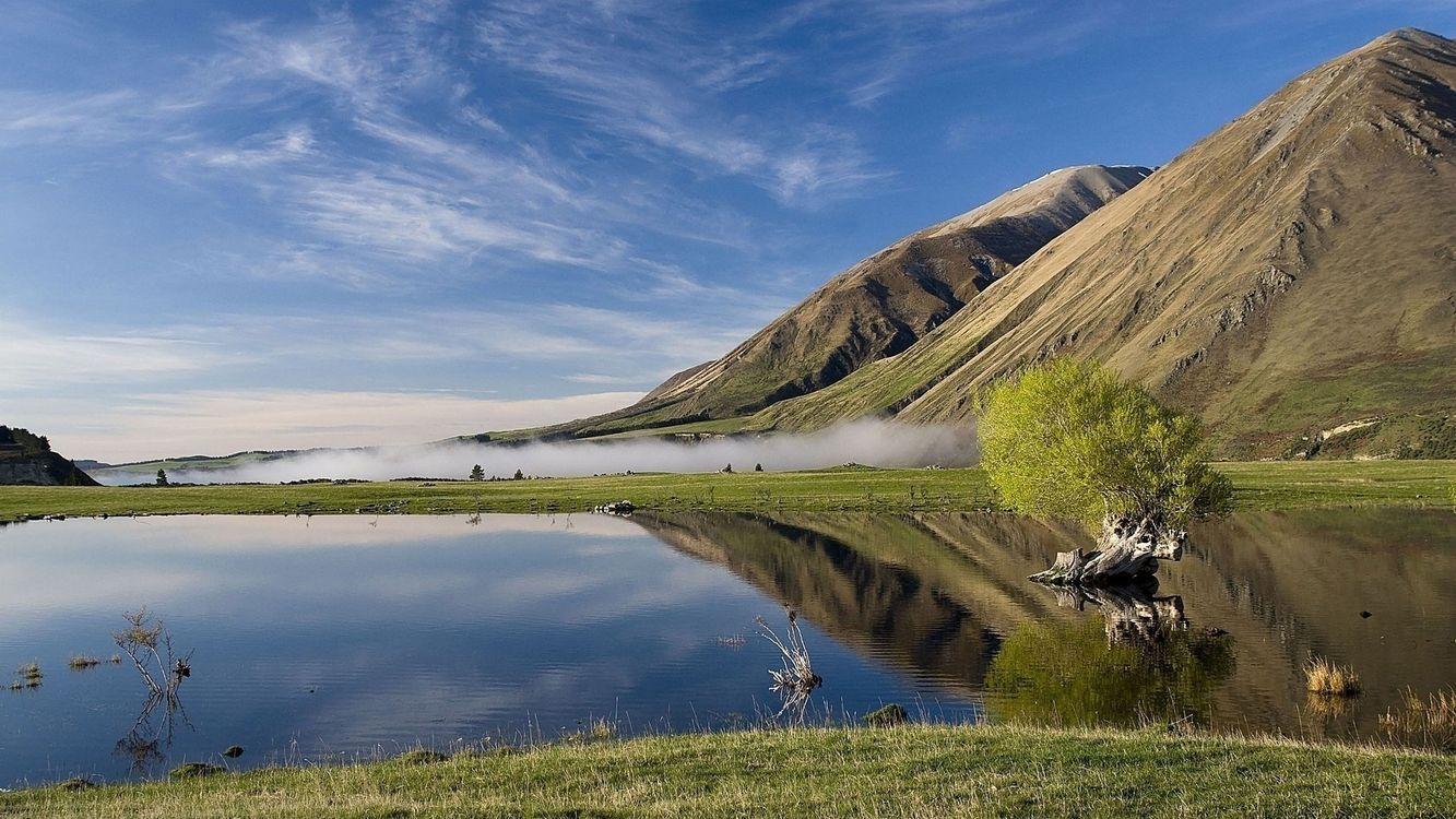 Фото бесплатно озеро, вода, горы, трава, зеленая, кусты, природа, природа