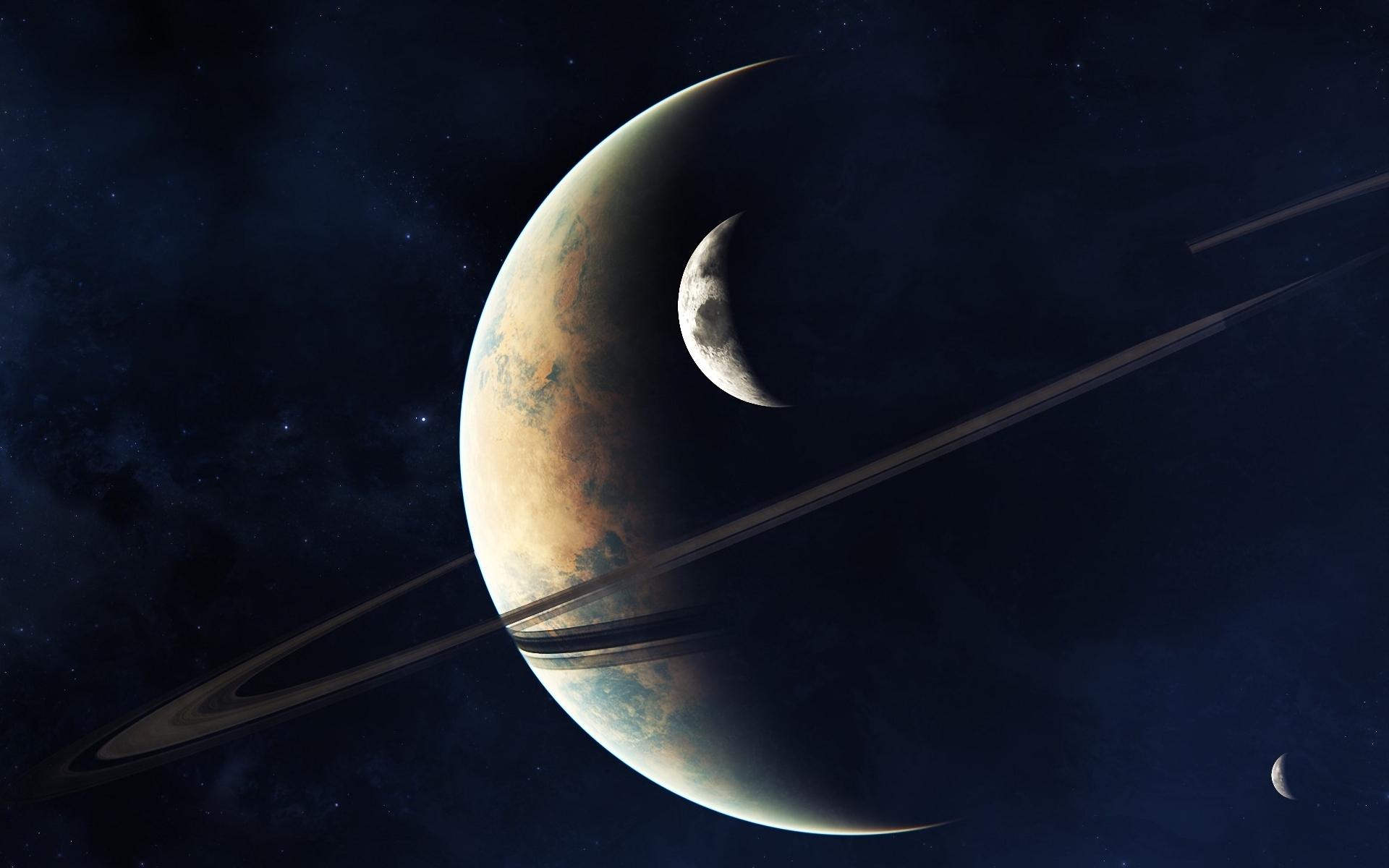 Обои планета, кольца, звезды, тучи