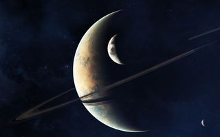 Обои планета, кольца, звезды, тучи, темнота, юпитер, сатурн, спутник, космос