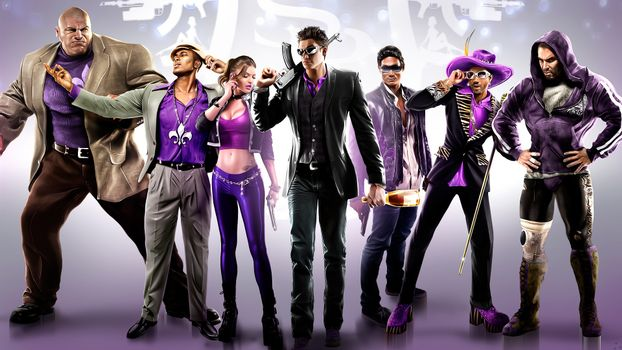 Бесплатные фото saints row,guns,man,women,purple,people,игры