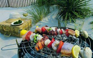 Бесплатные фото шашлык, шампур, мясо, рыба, овощи, помидоры, лимон