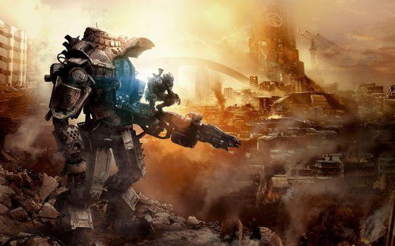 Бесплатные фото titanfall,титан и солдат,город,дым,бетонные осколки,игры
