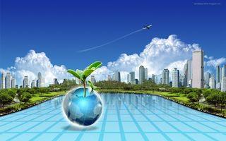 Заставки улица, дома, высотки, бассейн, самолет, шар, глобус, зелень, деревья, ветки, парк, природа