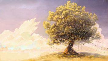 Бесплатные фото дерево,ветер,качели,рисунок,облака,детство,небо