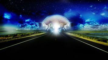 Обои дорога, новый, мир, свет, замок, дворец, небо, рендеринг