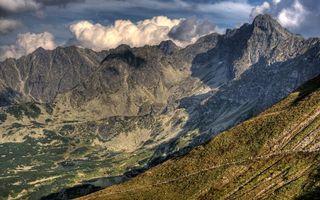 Фото бесплатно горы, хребет, низина, равнина, плато, трава, облака, тучи, пейзажи, природа
