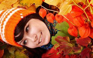 Фото бесплатно красивая, улыбка, оранжевый