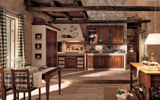 Бесплатные фото кухня,окно,стол,плита,шкафчик,чайник,картина,перец,корзина,камень,балка,стул