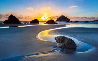 Бесплатные фото море,пляж,камни,скалы,закат,пейзажи