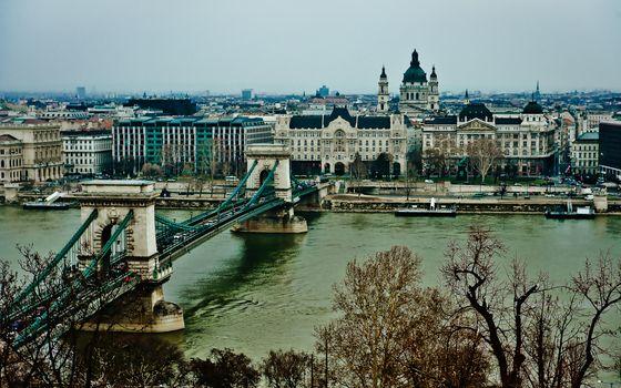 Фото бесплатно мост, река, здания