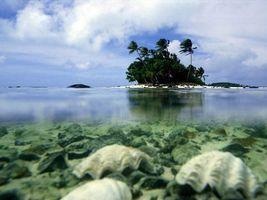 Фото бесплатно море, облака, остров