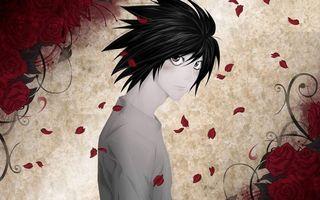 Бесплатные фото парень,глаза,взгляд,волосы,черные,цветы,розы