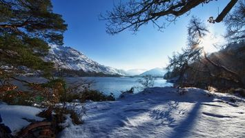 Заставки река, горы, снег