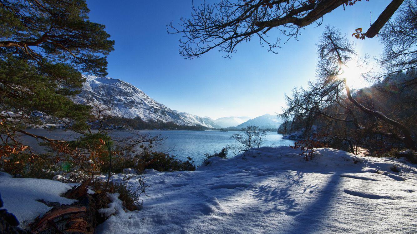 Фото бесплатно река, горы, снег - на рабочий стол