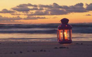 Бесплатные фото светильник,свеча,пляж,вечер,море,волны,закат