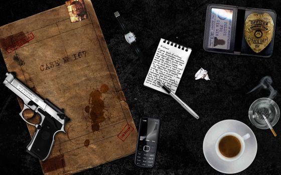 Бесплатные фото телефон,мобильник,чашка,кофе,пистолет,блокнот,документы,папка,сигарета,пепельница,оружие