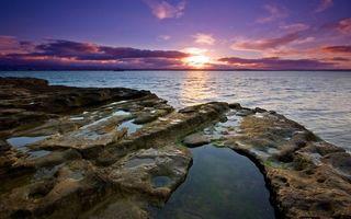Бесплатные фото морской закат,солнце,за горизонт,море,океан,облака,рифы