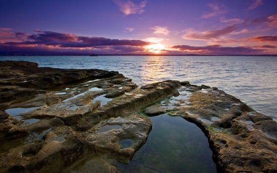 Photo free sea sunset, sun, beyond the horizon