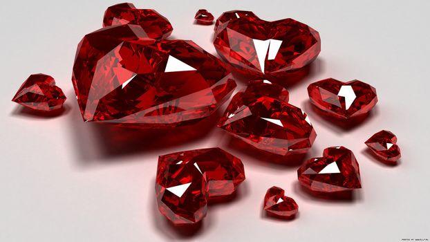 Бесплатные фото рубінове серце,рубін,серце,білий,червоний,грань,абстракции,макро,разное,рендеринг,стиль