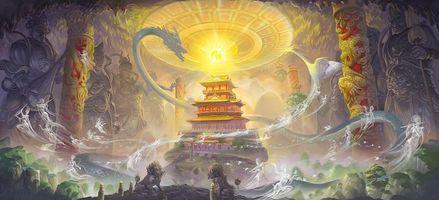 Бесплатные фото магия,статуи,арт,храм,колонны,сфера,lei sheng