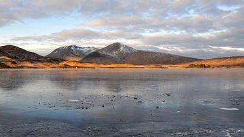 Фото бесплатно горы, снег, вода, река, лед, песок, земля, небо, тучи, пейзажи