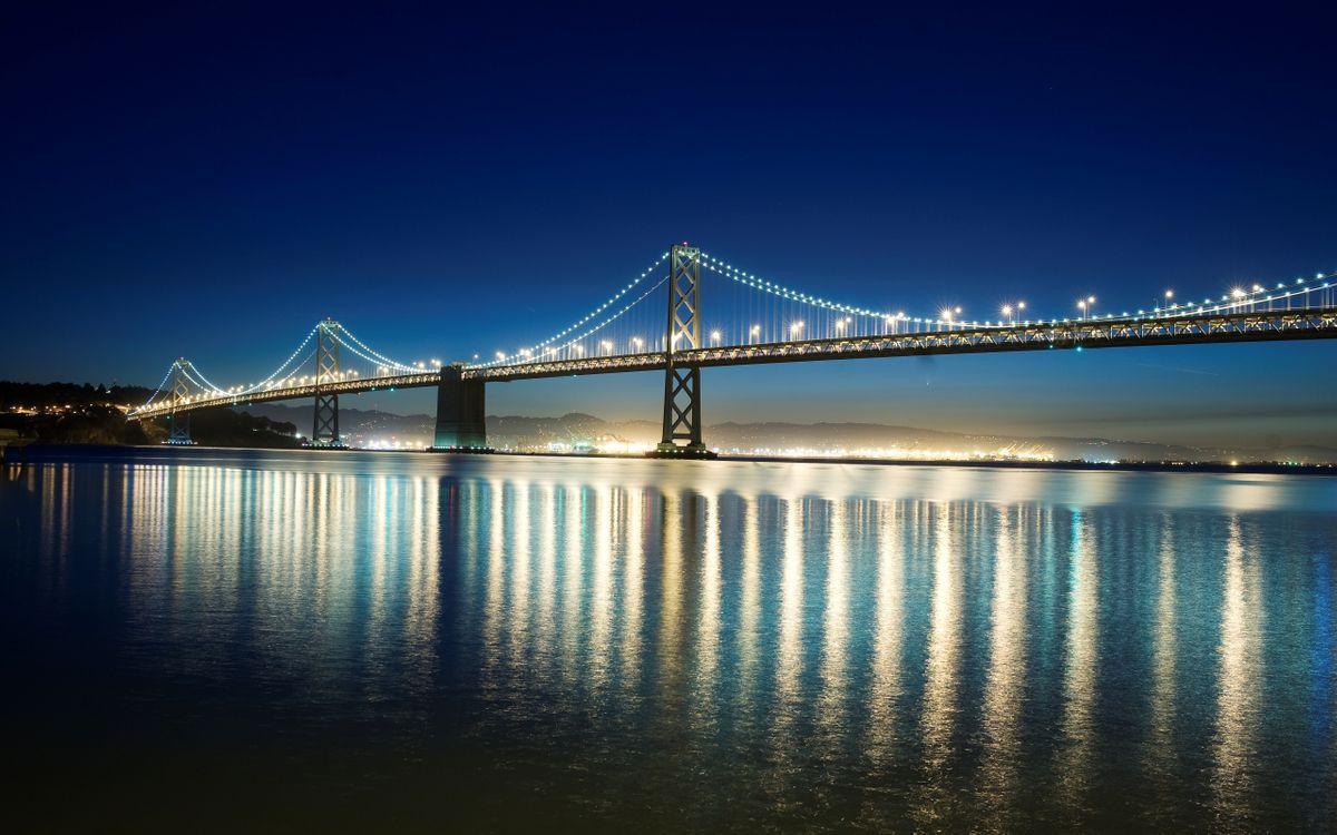 Фото бесплатно мост, река, вода, свет, отражение, берег, дорога, лампа, пейзажи, пейзажи