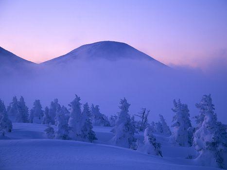 Фото бесплатно зимний пейзаж, горы, снег