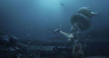 Фото бесплатно город, под водой, статуя
