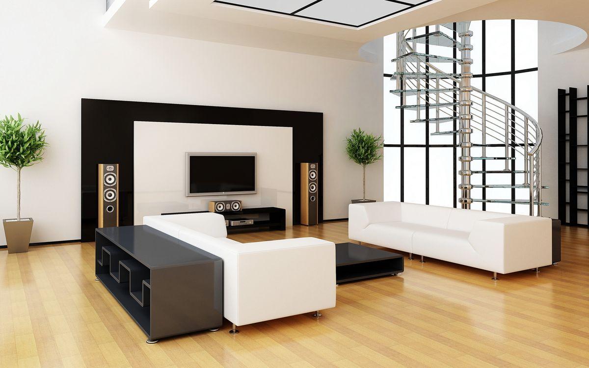 Фото бесплатно интерьер, гостиная, кинотеатр, акустика, диван, столик, обстановка, разное
