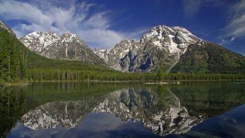 Бесплатные фото горы, заснеженные, холмы, озеро, отражение, елки, лес