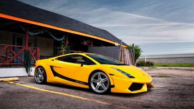 Photo free Lamborghini, yellow, headlights