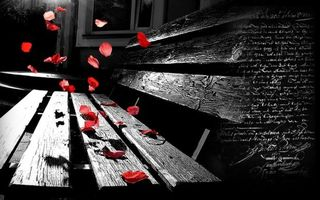Заставки скамейка, розы, деревянная