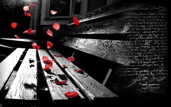Фото бесплатно скамейка, розы, деревянная