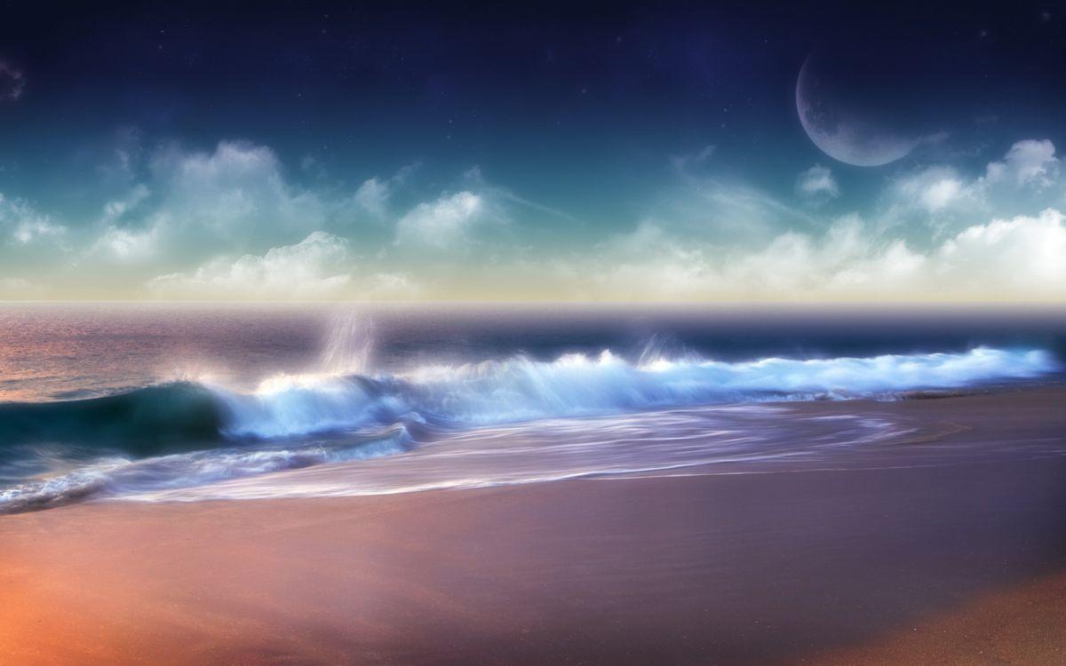 Фото бесплатно море, океан, берег, песок, пляж, небо, голубое, волны, вода, облака, тучи, пейзажи, природа, природа