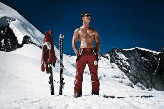Photo free man, mountains, snow