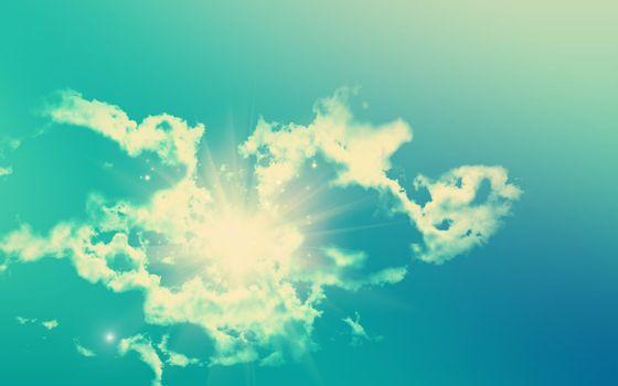 Заставки небо,голубое,солнце,яркое,лучи,облако