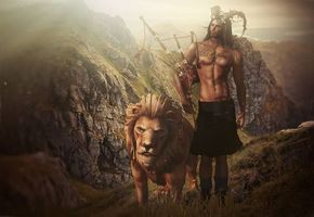 Фото бесплатно парень, волынка, лев