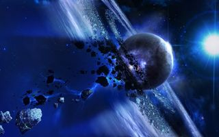 Обои планета и метеоритные кольца, метеориты, яркая звезда, молния, астероиды, вселенная, космос