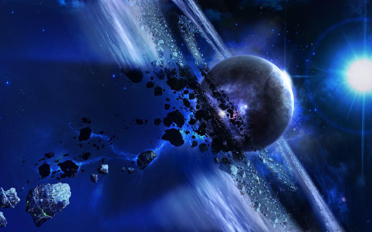 Фото бесплатно планета и метеоритные кольца, метеориты, яркая звезда - на рабочий стол