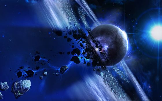 Photo free planet and meteorite rings, meteorites, bright star